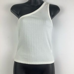 American Eagle One Shoulder Ribbed Tank Top White